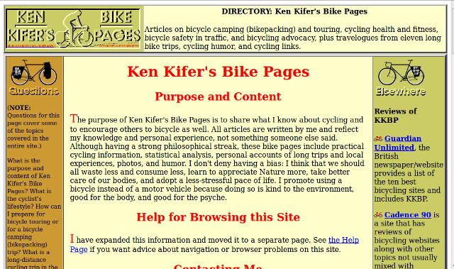 Ken Kifer Bicycle website