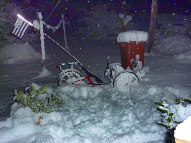 UK trike in snow Alonzo Savage