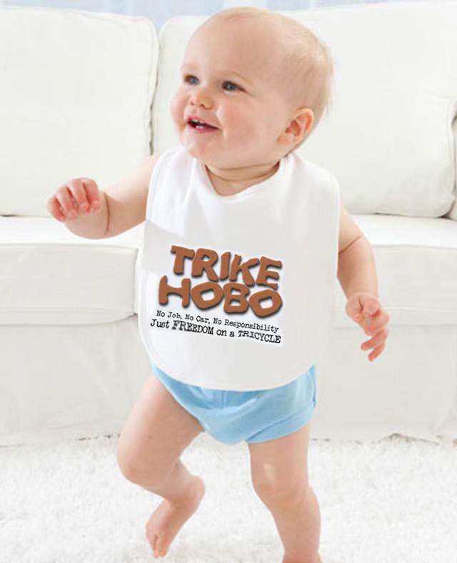 Trike Hobo Baby Bib on Baby